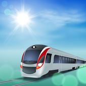 High-speed train at sunny day. — Wektor stockowy