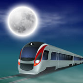 High-speed train at night with full moon. — Stock vektor