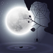 Halloween background with moon and spider. — Stock Vector