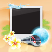 Blank photo on sand with airplane, train, globe, flowers and palm leaves — 图库矢量图片