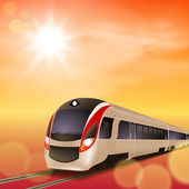 High-speed train. Sunset time. EPS10 vector. — Vetorial Stock