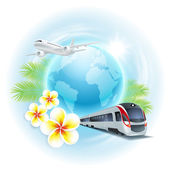 Concept travel illustration with airplane, train, globe, flowers and palm leaves — Stock Vector