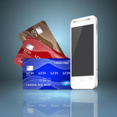 Mobile phone with credit cards on gray background. Mobile paymen — Stok Vektör