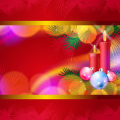 Christmas background with candles, balls and lights — Vecteur