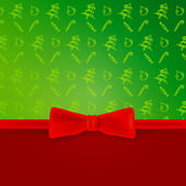 Christmas blank with christmas pattern and bow — 图库矢量图片