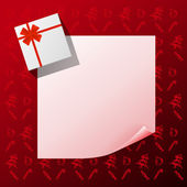 Note with gift on red christmas background — Stockvektor