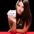 Young woman playing in the gambling — Stock Photo #43317261