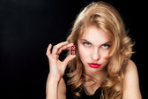 Young woman with red dice — Stock Photo