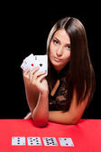Young woman playing in the gambling — Foto Stock