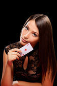 Young woman playing in the gambling — Stock Photo