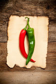 Red Hot Chili Peppers with the Old Paper sheet — Stockfoto