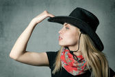 Woman with cowboy hat — Stockfoto