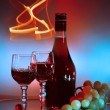Bottle, glass of cognac (brandy) and bunch of grapes — Stock Photo