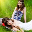 Young girls on the meadow — Stock Photo #43373579