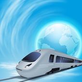 Concept background with high-speed train and the globe. — Stock Vector