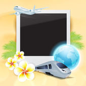 Blank photo on sand with airplane, train, globe, flowers and pal — Stock Vector