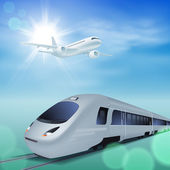 High-speed train and airplane in the sky. Sunny day. — Stock Vector