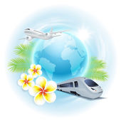 Concept travel illustration with airplane, train, globe, flowers — Stock Vector