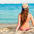 Long haired girl in bikini on tropical bali beach — Stock Photo