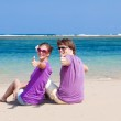 Young beautiful couple on tropical bali beach.honeymoon — Stock Photo #16080979