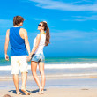 Couple on tropical beach in sunglasses in Thailand — Stockfoto