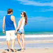 Couple on tropical beach in sunglasses in Thailand — Stok fotoğraf