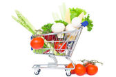 Mini supermarket car isolated over a white background. healthy food shopping concept — Stock Photo