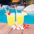 Two glasses of bright cocktails and flowers near pool. party — Stock Photo