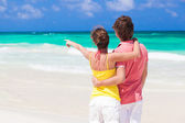 Back view of couple holding hands and pointing at the horizon on tropical beach — Stock Photo