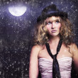 Stock Photo: Female Moon Light Night Performer Acting In Rain