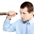 Marketing man conducting competitor analysis - Stock Photo