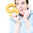 Isolated Businessman With S For Solution On White - Stockfoto