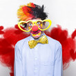 Royalty-Free Stock Photo: Romantic Comedy Clown Wearing Heart Shape Glasses