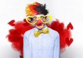 Romantic Comedy Clown Wearing Heart Shape Glasses — Stock Photo