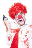 Evil Clown Holding Cap Gun On White Background — Stock Photo