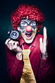 Excited Clown With Camera At Kids Birthday Party — Stock Photo