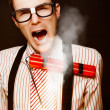 Vintage Male Business Dork Under Explosive Stress — Stockfoto