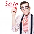 Stock Photo: Isolated Funny Nerd Advertising A Store Sale