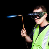 Panelbeater in safety goggles — Stock Photo