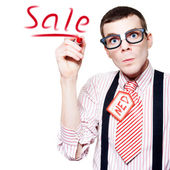 Isolated Funny Nerd Advertising A Store Sale — Stockfoto