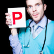 Private Health Care Professional Showing Letter P - Stock Photo