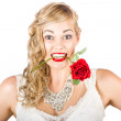 Royalty-Free Stock Photo: Isolated Woman Holding Rose During Valentines Day