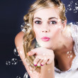 Playful Bride Blowing Bubbles At Wedding Reception — Stock Photo