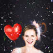 Stock Photo: Happy Bride In Confetti During Wedding Celebration