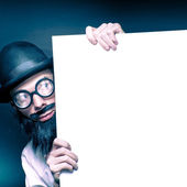 Curious Old Nerd Holding Blank Copyspace Billboard — Стоковое фото