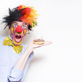 Surprise Happy Birthday Clown Holding Party Cake — Stock Photo