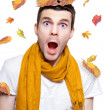 Stock Photo: Surprised Person Having Fun With Tree Leaf On Head