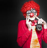 Fun Smiling Clown Holding Camera Taking Happy Snap — Stock Photo