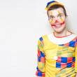 Crazy Male Birthday Party Clown With Funny Smile — Stock Photo