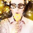 Stock Photo: Female Nerd Blowing Bubbles Of Business Success